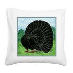 Fantail Black Pigeon Square Canvas Pillow