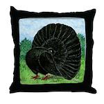 Fantail Black Pigeon Throw Pillow