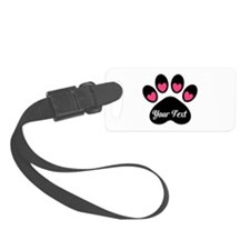 Personalizable Paw Print Pink Luggage Tag