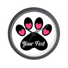 Personalizable Paw Print Pink Wall Clock