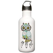 Cute Green owl Water Bottle