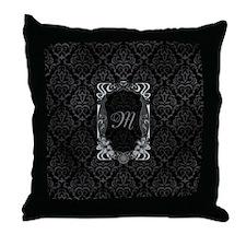 Black Grey Damasks Frame Throw Pillow