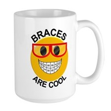 Braces Are Cool Smiley / Red Glasses Large Mugs