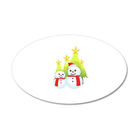 Christmas Decorated Tree Snowman Wall Decal