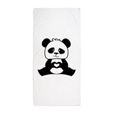 Panda's hands showing love Beach Towel