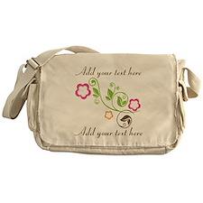 Custom add text flowers Messenger Bag