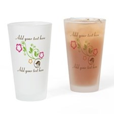 Custom add text flowers Drinking Glass