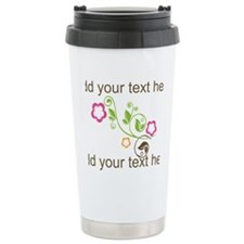 Custom add text flowers Travel Mug
