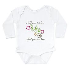 Custom add text flower Long Sleeve Infant Bodysuit