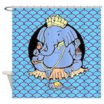 Ganesh Blue Shower Curtain