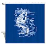 Mermaid On Deep Blue Shower Curtain