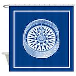 Nautical Compass On Blue Shower Curtain