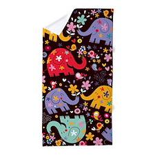 Colorful Elephants Beach Towel