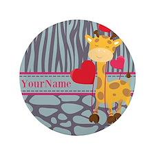 "Custom Giraffe, Zebra Animal Print 3.5"" Button"