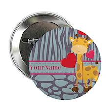 "Custom Giraffe, Zebra Animal Print 2.25"" Button"