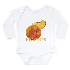 Cute Fruit peach Long Sleeve Infant Bodysuit