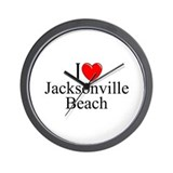 &quot;I Love Jacksonville Beach&quot; Wall Clock