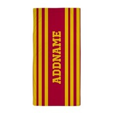Red and Yellow Stripes Personalized Beach Towel