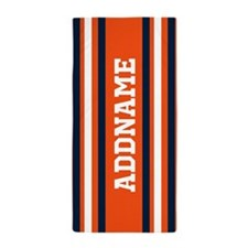 Orange and Blue Sports Stripes Beach Towel