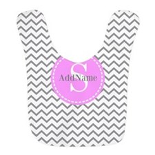 Gray and Pink Chevron Monogram Bib