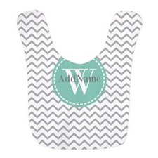 Gray and Aqua Modern Chevron Custom Monogram Bib