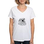 Proud English Bulldog Women's V-Neck T-Shirt