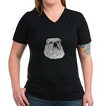 Proud English Bulldog Women's V-Neck Dark T-Shirt