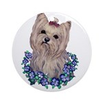 A Pensive Pretty Yorkie Ornament (Round)
