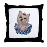 A Pensive Pretty Yorkie Throw Pillow