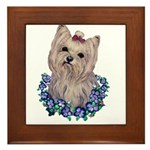 A Pensive Pretty Yorkie Framed Tile