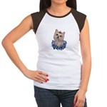 A Pensive Pretty Yorkie Women's Cap Sleeve T-Shirt