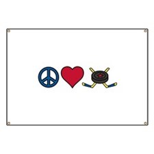 Peace Love Hockey Banner
