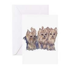 3 Little Yorkies Greeting Cards (Pk of 10)