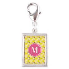 Monogram Cross Pattern Yellow and Pink Charms