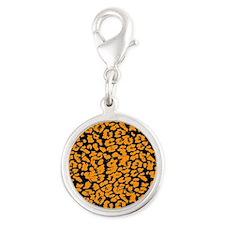 Cheetah Print Silver Round Charm