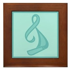 """Teal Ribbon Twist"" Framed Tile"