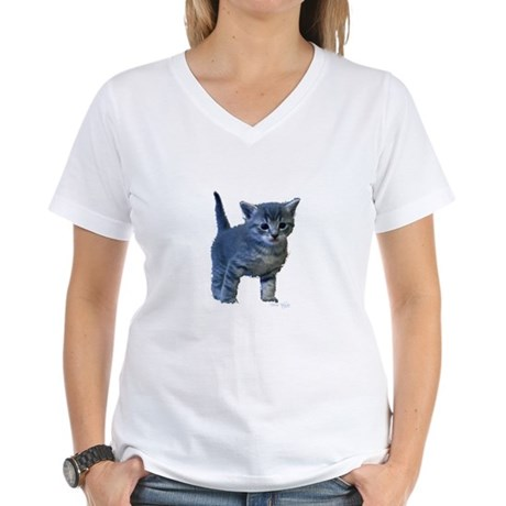 Kitten Women's V-Neck T-Shirt