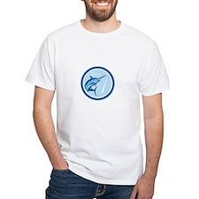 Blue Marlin Fish Jumping Circle Cartoon T-Shirt