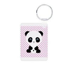 Panda Bear on Pink Polka Dots Keychains