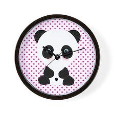 Panda Bear on Pink Polka Dots Wall Clock