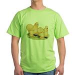 Buff Silkie Chickens Green T-Shirt