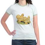 Buff Silkie Chickens Jr. Ringer T-Shirt