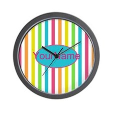 Colorful Multi Stripes Personalized Wall Clock