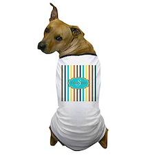 Monogrammed Retro Colorful Stripes Dog T-Shirt