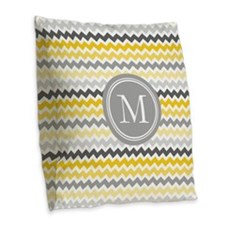 Yellow Grey Coral Chevron Burlap Throw Pillow