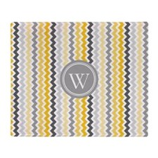 Yellow Grey Coral Chevron Monogram Throw Blanket
