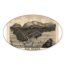 Antique map of Bar Harbor, Ma Oval Decal