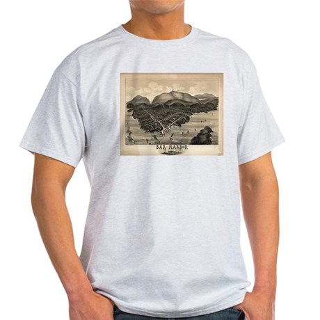 Antique map of Bar Harbor, Ma Light T-Shirt