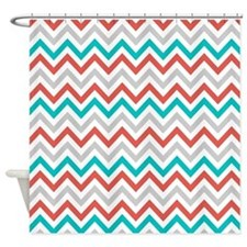gray and turquoise chevron stripe shower curtains gray