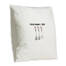 Custom Shovel Set Burlap Throw Pillow